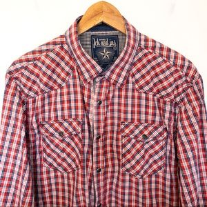 Jack & Jones Men Size XL Shirt Plaid Western